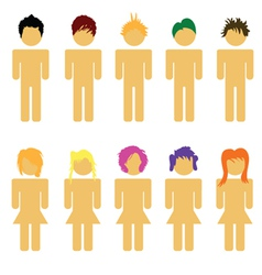 people hair man and woman vector image