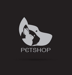 pets design on black background petshop dog cat vector image