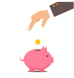 Piggy bank and hand with coin color vector