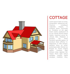 poster with a cottage and a place for text vector image