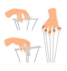 Puppet manipulation hands vector