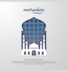 Ramadan kareem islamic greeting card design with vector