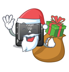 Santa with gift button page up keyboard mascot vector