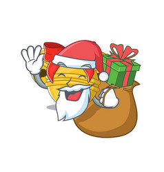 Santa with gift jingle bell on character table vector