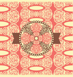 seamless pattern with damask ornament and label vector image