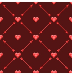 Seamless pattern with polygonal hearts and arrows vector