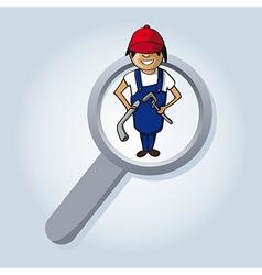 Service search plumber boy cartoon vector image