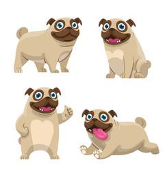 set cartoon pug dog collection vector image