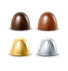 set of black milk chocolate in golden silver foil vector image