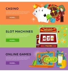 Set Of Gambling Banners In Flat Design vector