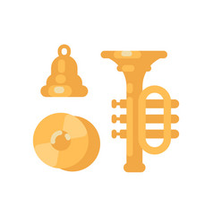 set of shiny gold musical instruments cymbals vector image
