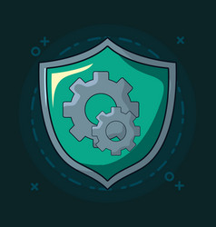 Shield with gears vector