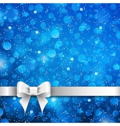 Silver bow on blue background vector image