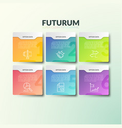 Six separate multicolored rectangular elements vector