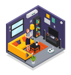 smart home isometric interior vector image