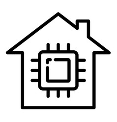 Smart home processor icon outline style vector
