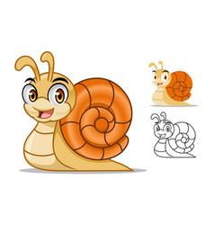 snail cartoon character mascot design vector image