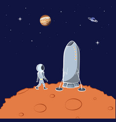Space ship and astronaut vector