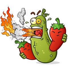 Spicy pickle cartoon breathing fire vector