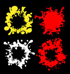 Splashes shape silhouettes on black vector