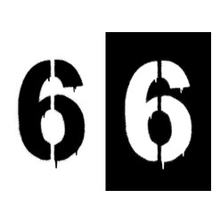 Stencil numeral 6 and drip paint black on white vector
