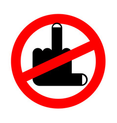 stop coarseness is prohibited middle finger vector image