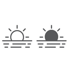 Sunset line and glyph icon travel and tourism vector
