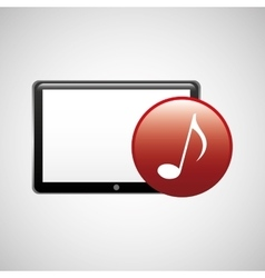 Tablet technology icon music note vector