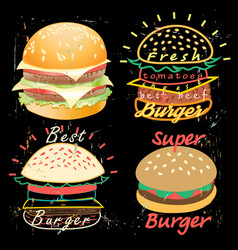 Tasty burgers food menu vector