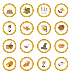 Thanksgiving day cartoon icon circle vector