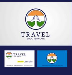 Travel india creative circle flag logo vector
