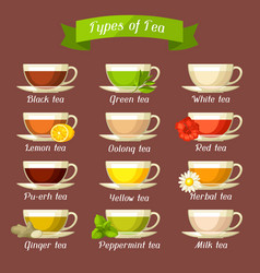 Types of tea set of glass cups with different vector