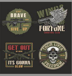 vintage colorful army emblems vector image