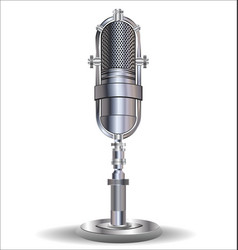 Vintage silver microphone isolated on white vector