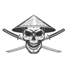 vintage skull in chinese conical straw vector image