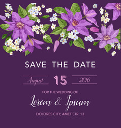 Wedding invitation template with clematis flowers vector