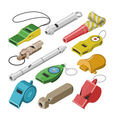 Whistle coach whistling sound tool and vector