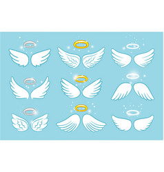 Wings and nimbus angel winged glory halo cute vector