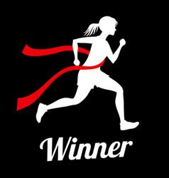 winner female runner crossing finish line sports vector image
