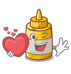 with heart yellow mustard in plastic bottle vector image