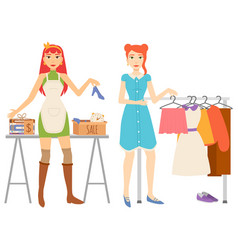 Woman shopping clothes store and books sale set vector
