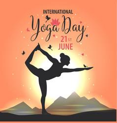 world yoga day sunset vector image