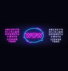 wow neon text wow pop art neon sign vector image