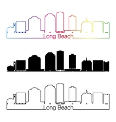 Long beach v2 skyline linear style with rainbow vector