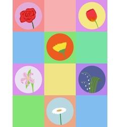 seamless cartoon flowers vector image vector image