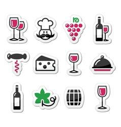 Wine labels set - glass bottle restaurant food vector image vector image