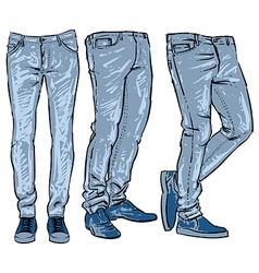 blue jeans set denim clip art sketch vector image vector image