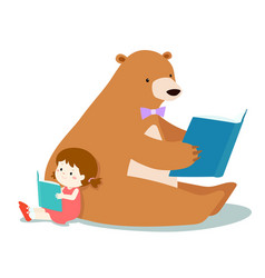 cute girl and fluffy bear are reading a book vector image