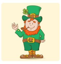 Cute Saint Patricks Leprechaun in top-hat vector image vector image