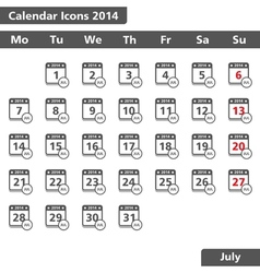 July 2014 Calendars Icons vector image vector image